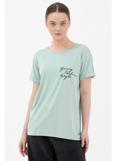 Sementa Rahat Kesim Cep Detaylı Baskılı Tshirt - Yeşil Yeşil